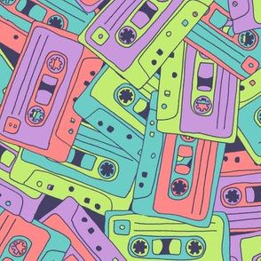 Colorful fabrics digitally printed by Spoonflower - Tape Song: 80s Mix