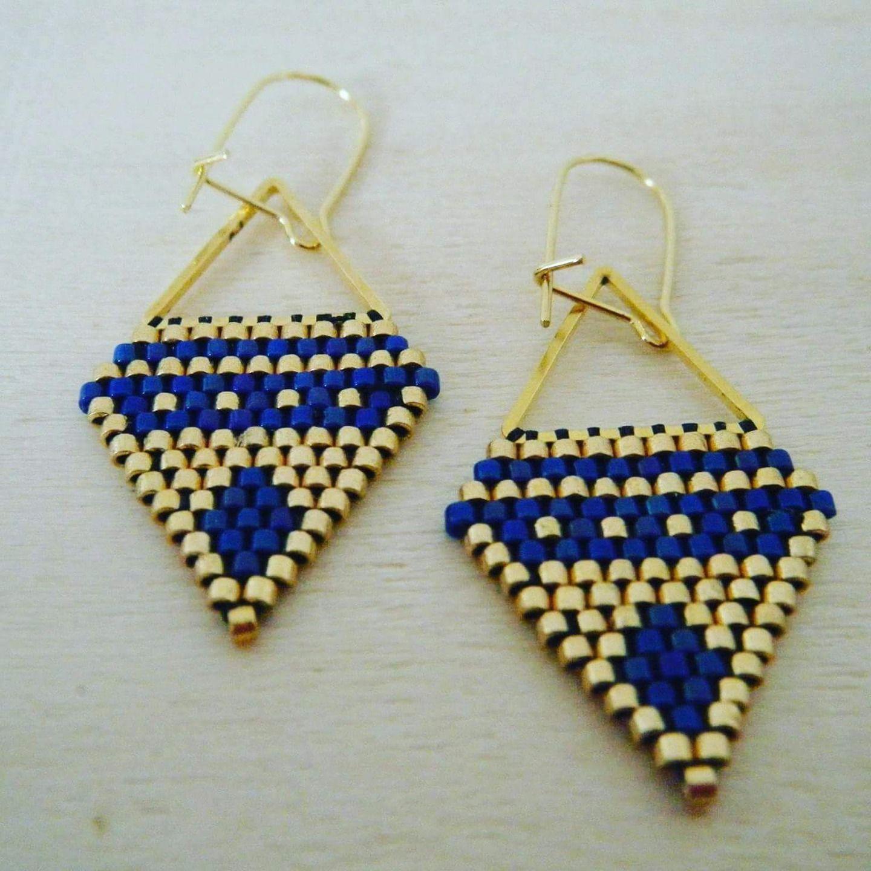 Delica Handmade Seed Bead Delicate OOAK Geometric Star Triangle Beaded Earrings