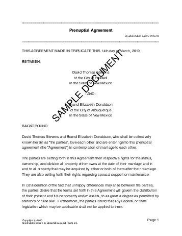 Prenuptial Agreement Form Template Prenup Contract Sample