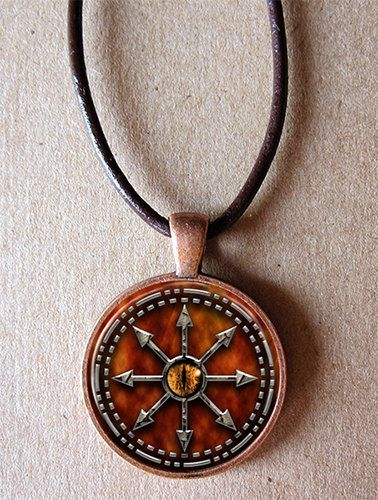 Symbol of chaos glass art pendant set in copper with leather cord symbol of chaos glass art pendant set in copper with leather cord aloadofball Gallery