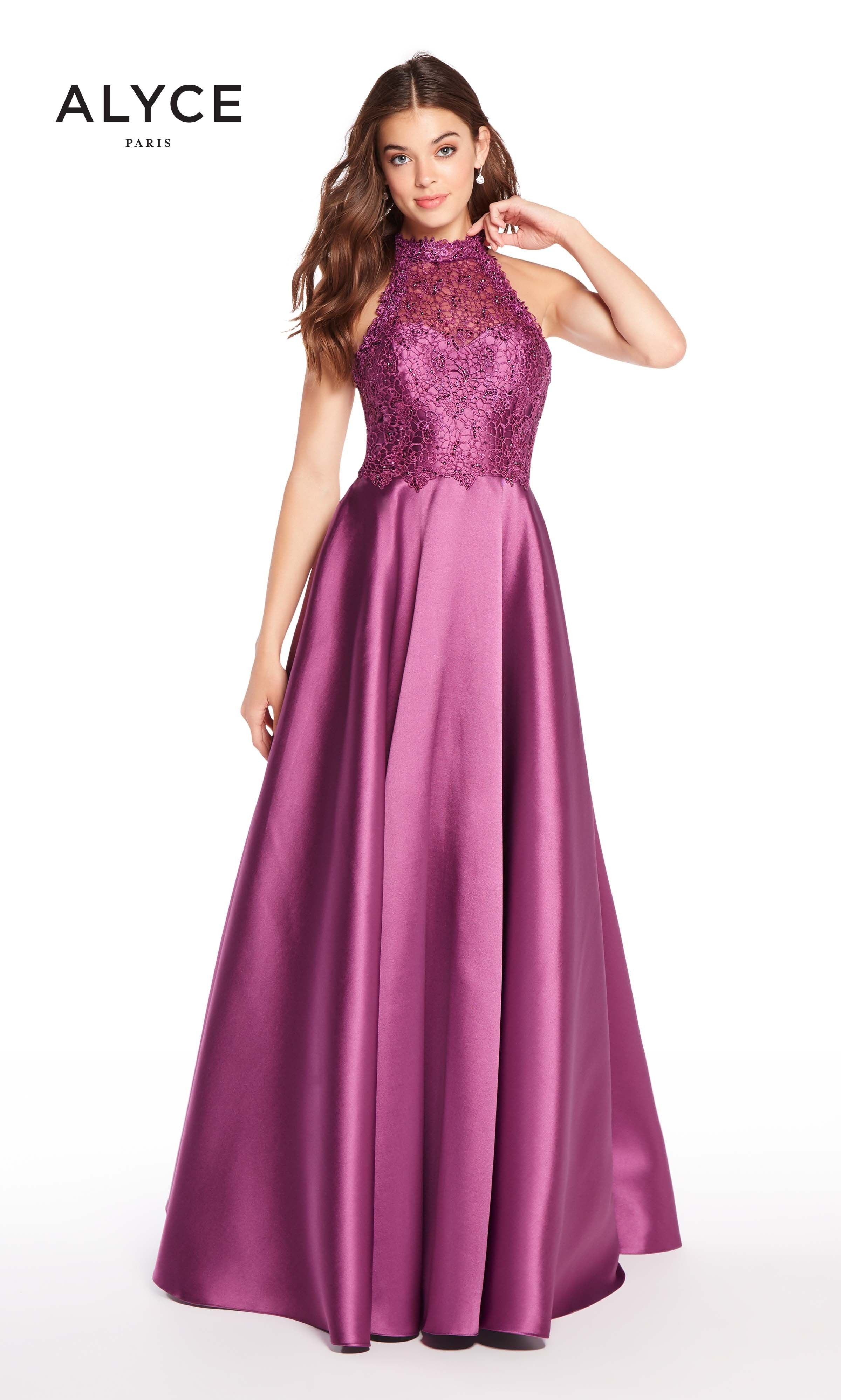 Alyce 60060 Mikado Racerback Halter A-line Dress | Halter gown, Ball ...