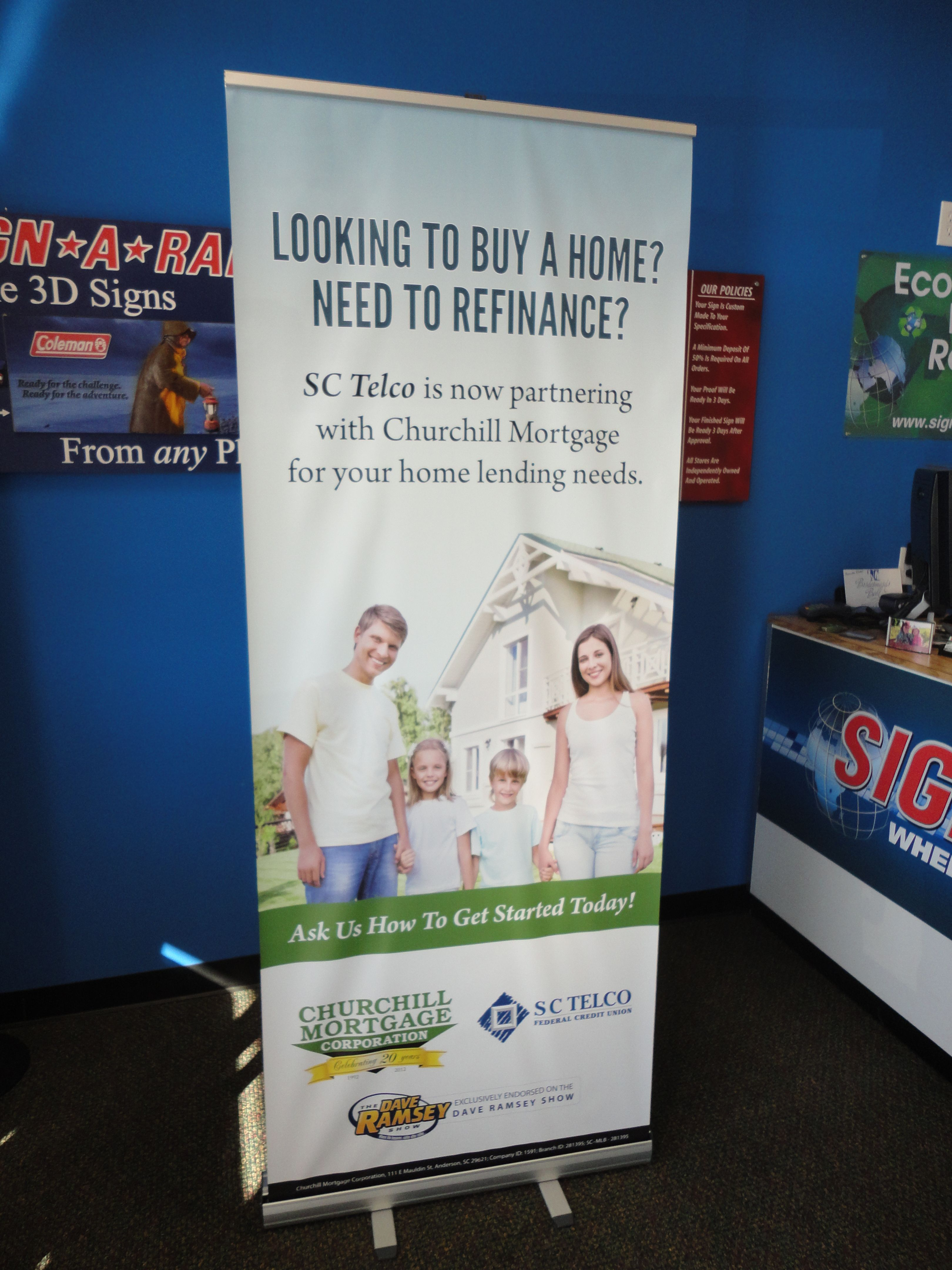 Banner With Retractable Stand For Churchill Mortgage By Sign A Rama Mortgage Marketing Retractable Banner Home Buying