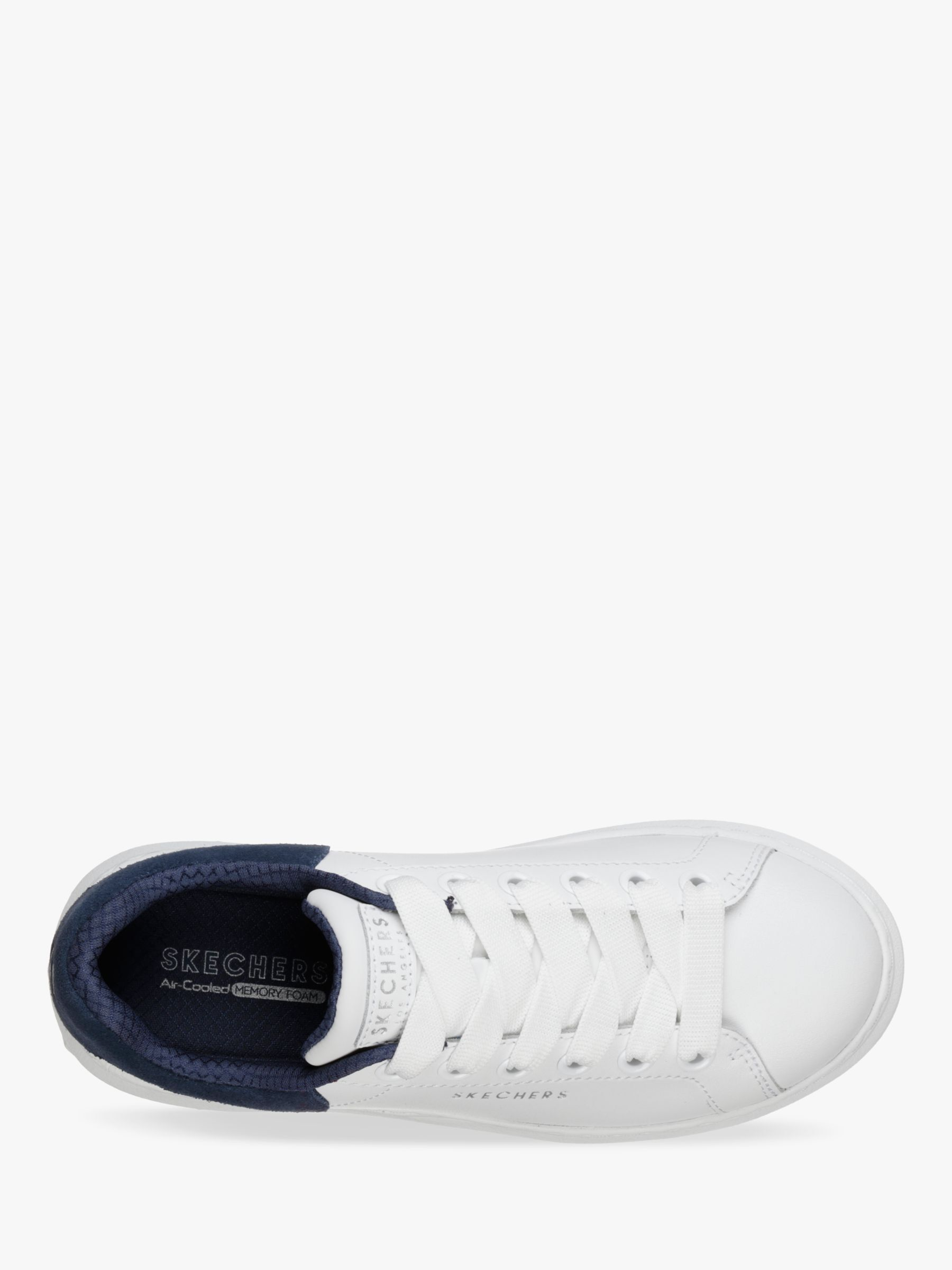 Skechers High Street Lace Up Trainers, WhiteNavy Leather