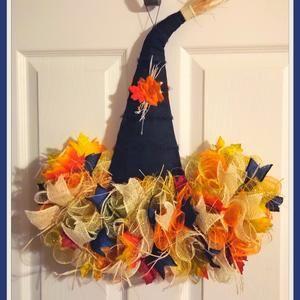 Autumn wre Front porch decor Fall scarecrow wreath Front | Etsy