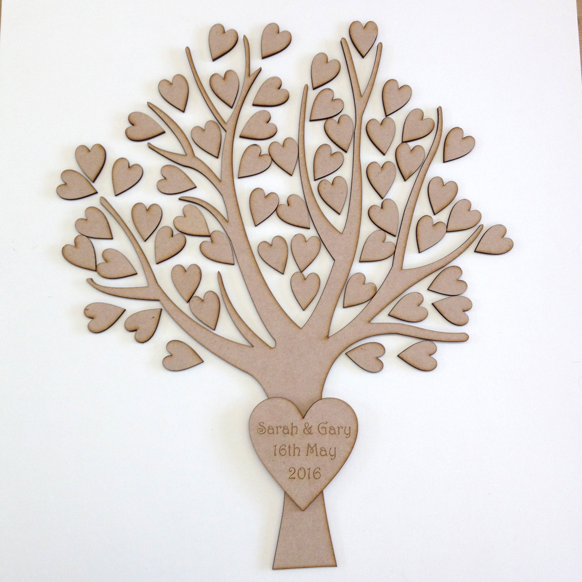 Wooden guest book, great for weddings, or special birthday or anniversaries. Made of 3mm mdf choice of number of hearts