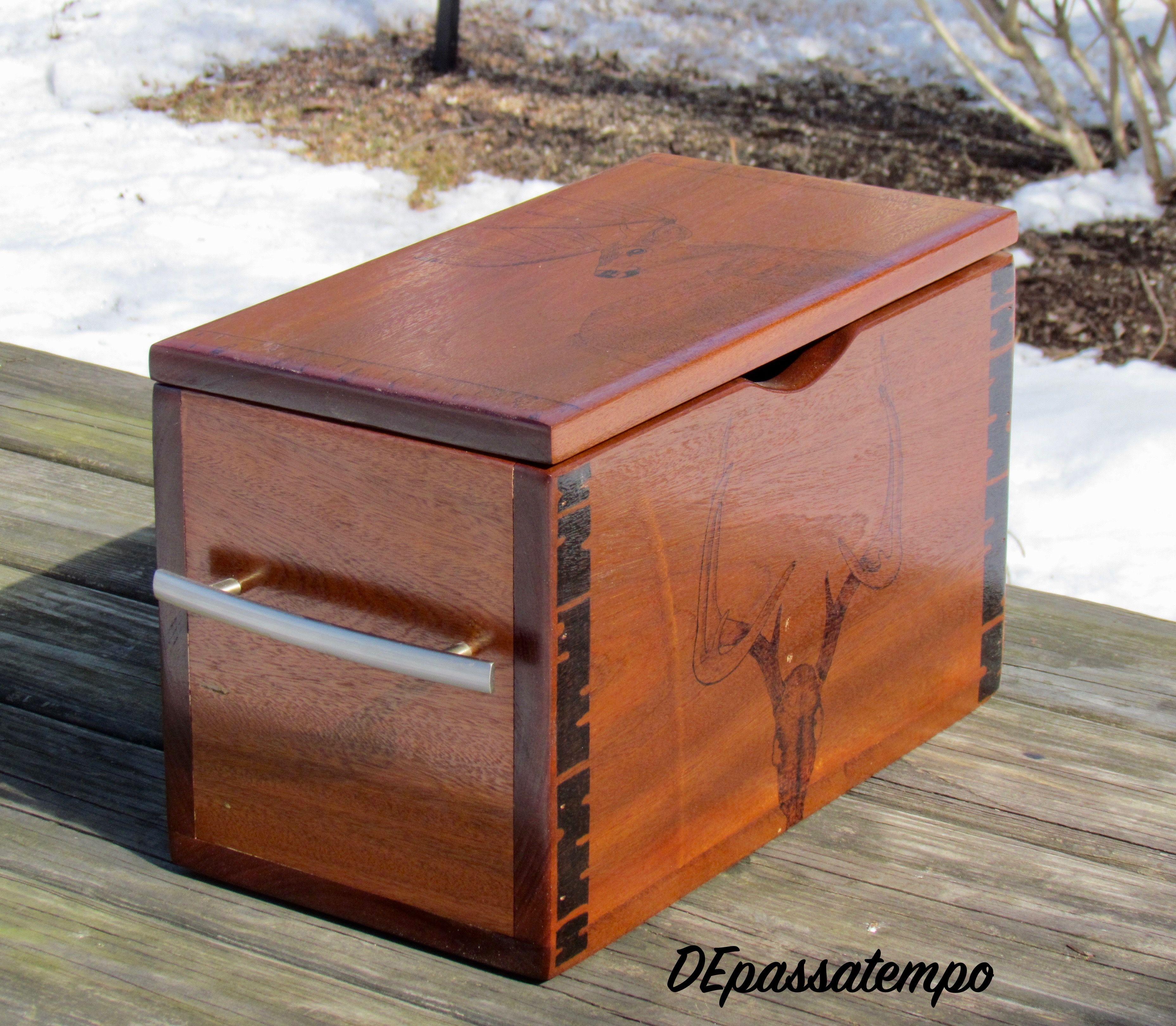 Mahogany box with handles. Deer Woodburning on top and
