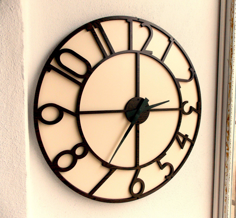 Etsy Large Wall Clock Modern Wall Clock Wooden Wall Clock Decorative Clock Engagement Wedding Gif Large Wooden Wall Clock Wall Clock Wooden Rustic Wall Clocks