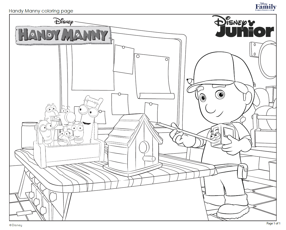 Handy Manny Coloring Pages Httpfamily.disneyactivityhandymannycoloringpage