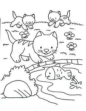 ausmalbild katzenbabys am see zum ausmalen. ausmalbilder   malvorlagen   katze  