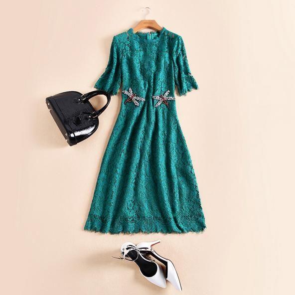 Lace dress green unit