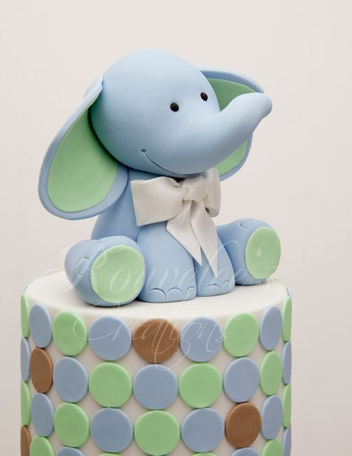 Elephant Cake Topper Elephant In Blue And Grey Olivers 1st
