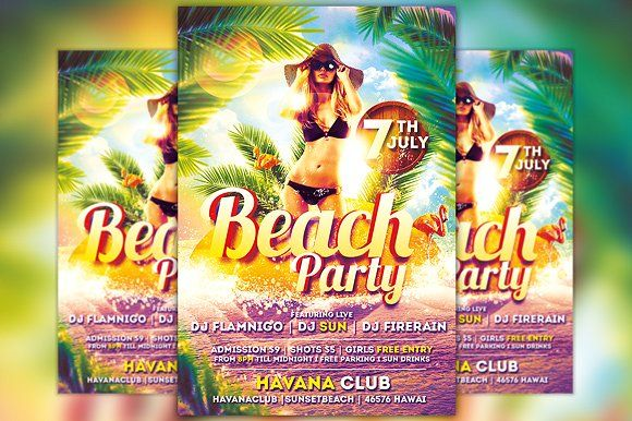 Beach Party Flyer Template Vol2 by Flyermind on @creativemarket - beach party flyer template