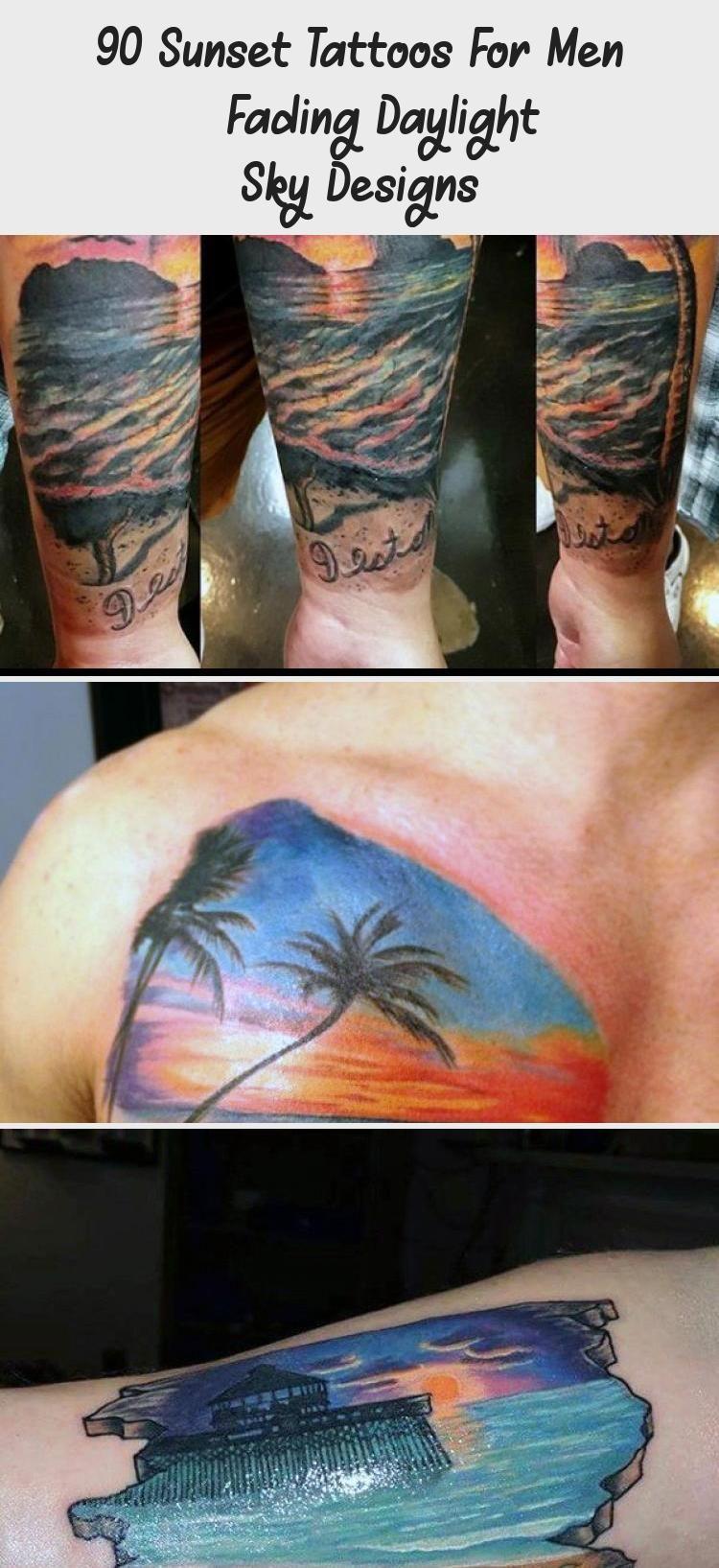 90 Sunset Tattoos For Men Fading Daylight Sky Designs