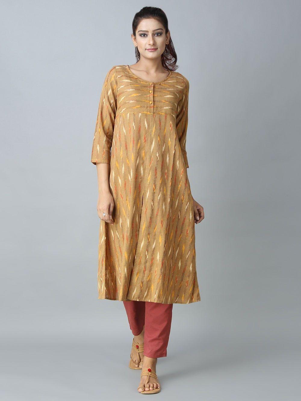 0868cc713e11 Mustard Brown Handloom Ikat Cotton Kurta