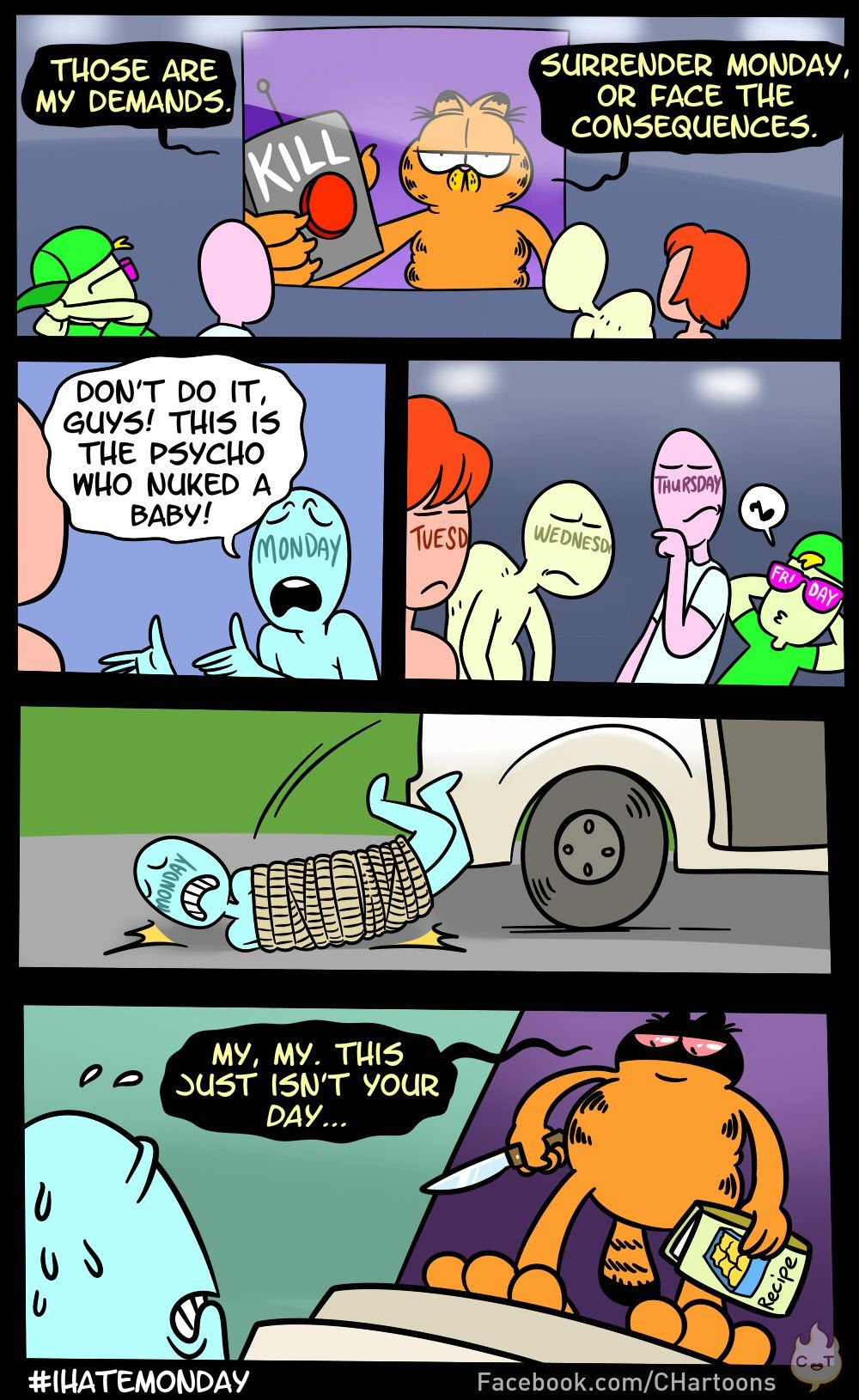 Garfield vs Mondays Funny cute, Funny memes, Image comics