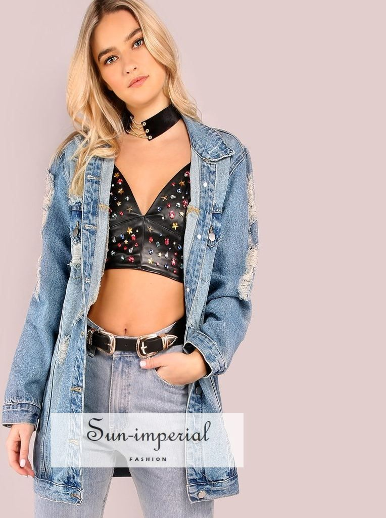 a02b99cc3553 Light Mineral Washed Distressed Denim Jacket DENIM - SALE