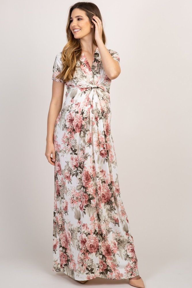 852c5d515a9 Ivory Floral V Neck Knot Front Maternity Maxi Dress in 2019 | maxi ...