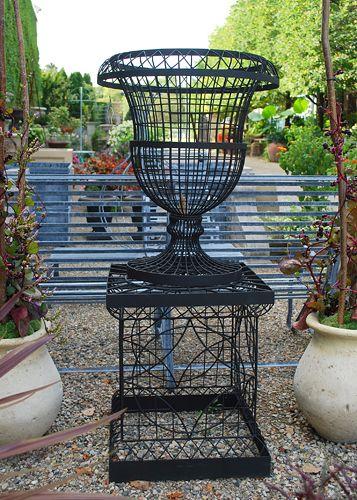 Wire Urn On Pedestal Online Garden Store