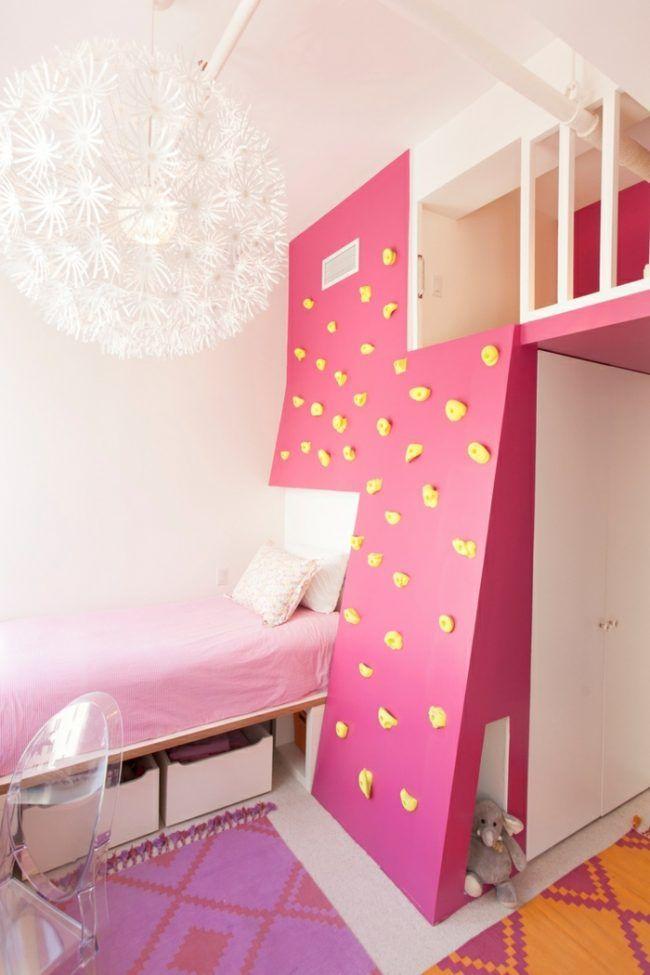 Mädchenzimmer Kletterwand Rosa Pink Lampe Weiß Modern