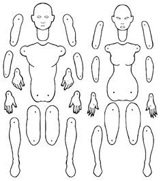 Male and female jointed paper doll templates. by MadunTwoSwords ...