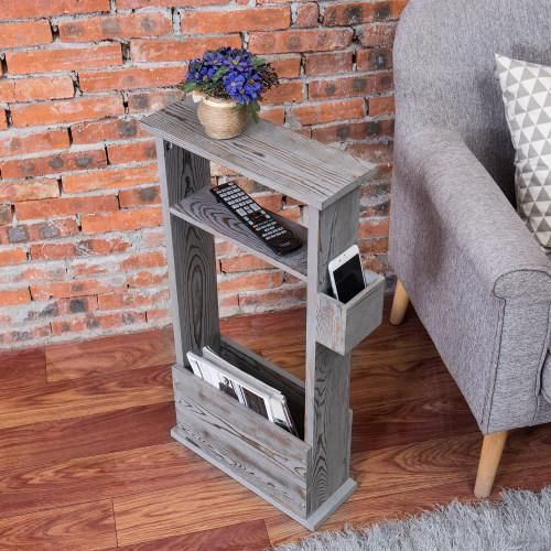 Vintage Gray Wood Side Table with Magazine Holder