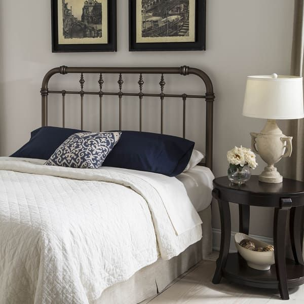 Vienna Headboard with Metal Spindle Panel and Carved Finials ...