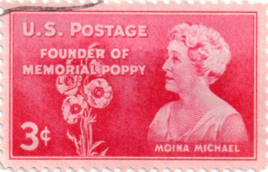 US postage stamp, 3 cents. Moina Michael, Founder of Memorial Poppy. Issued 9 November 1948 Scott catalog 977.