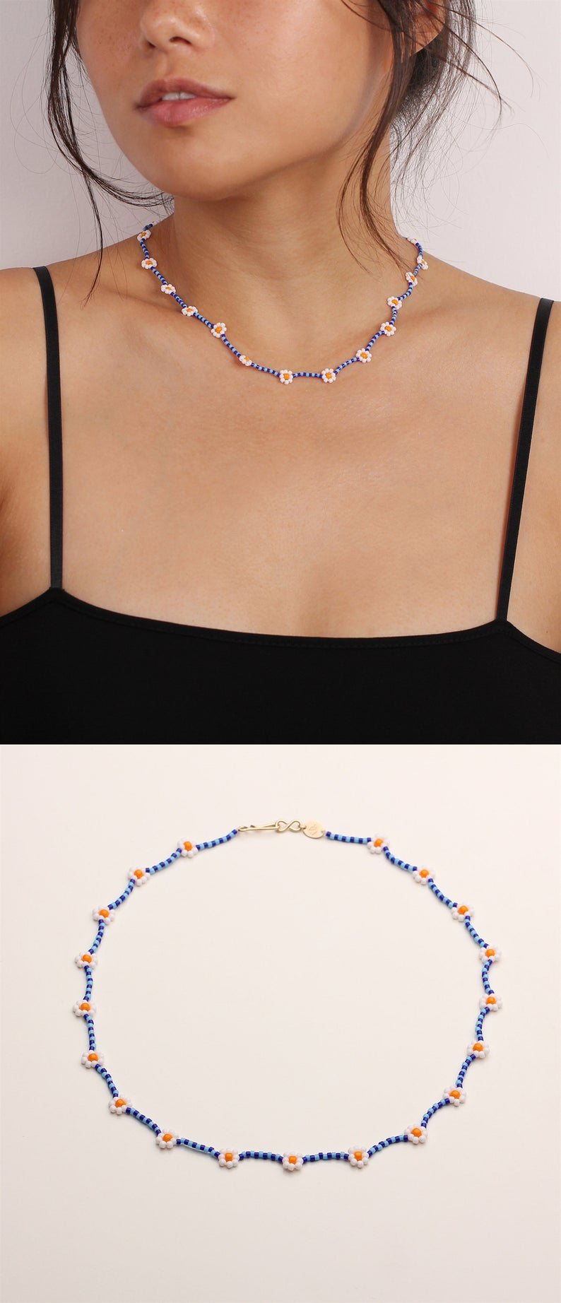 Colorful Daisy Chain Beaded Chokers w Gold or Silver Hardware Daisy Chain Choker Beaded Necklaces