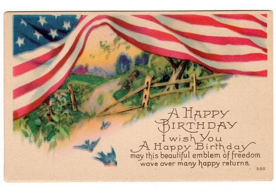 Vintage Original 1910s Patriotic Birthday Greeting Postcard Features A Large American Flag At Top Fence And Three Birds Reads Happy I Wish