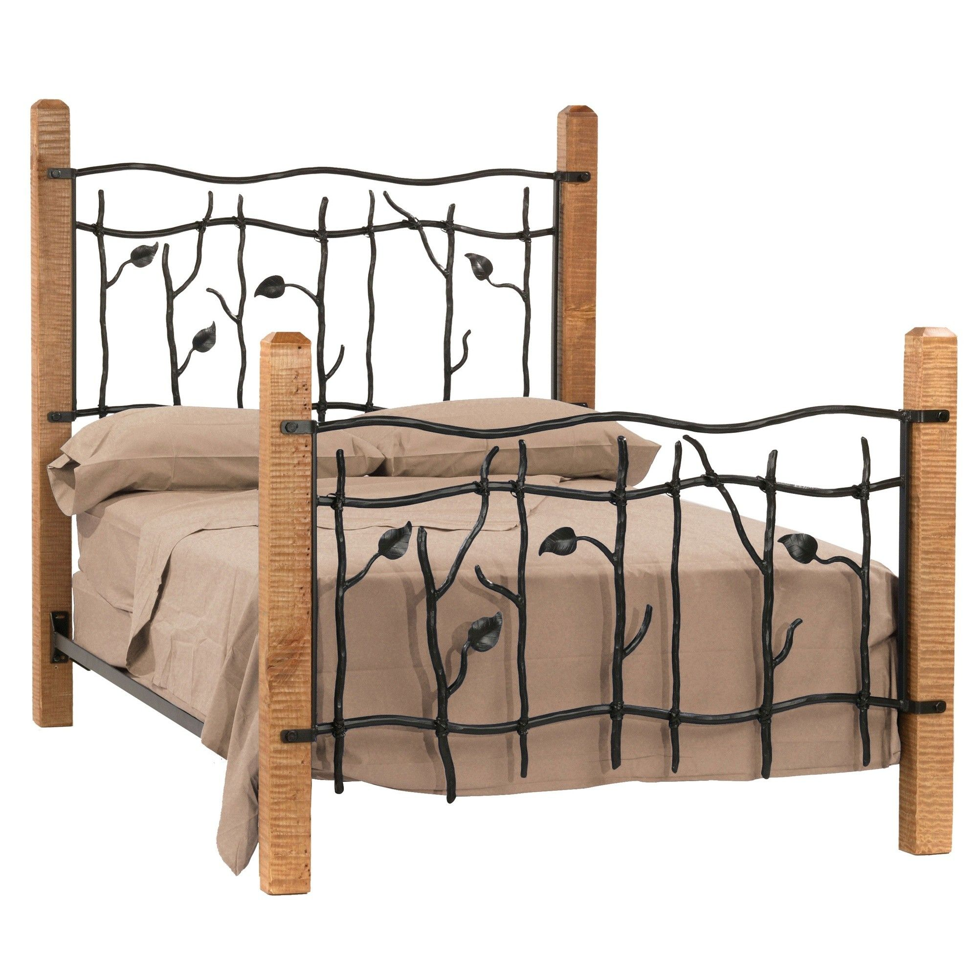 Brown Wooden Based Bed Frame With Leaves Twig Wrought Iron