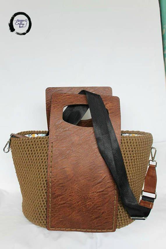 Crochet bag with real leather - Top handle bag - Brown crochet bag - Shoulder bag - Lined crochet bag - Large crochet handbag #crochethandbags