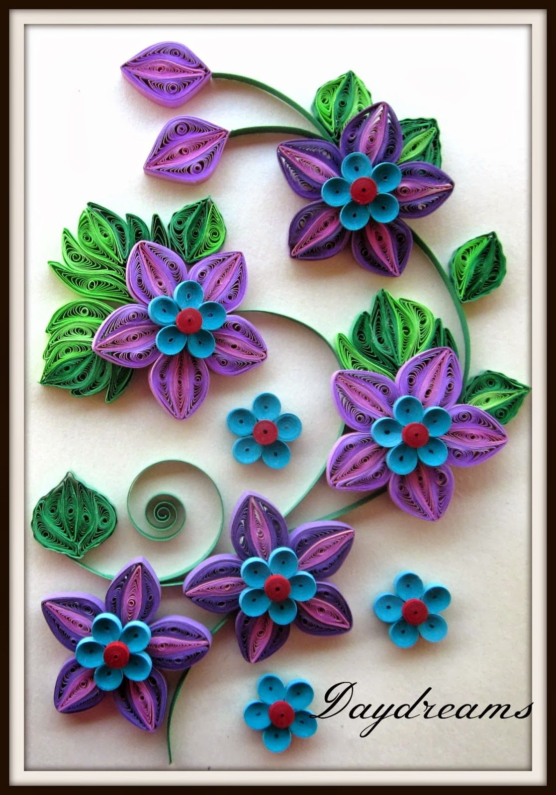 Pretty Purple And Blue Quilled Card Pinterest