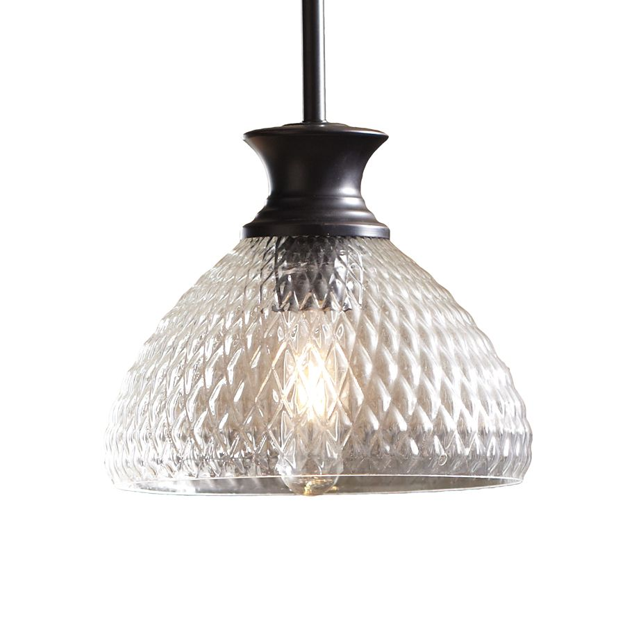 Shop Allen Roth Oil Rubbed Bronze Mini Pendant Light With Textured Shade At This One