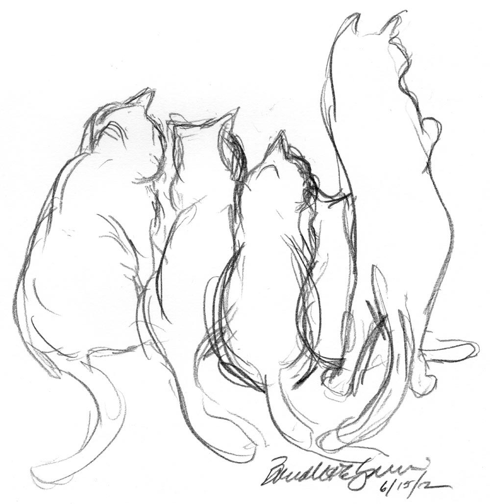 Door pencil drawing - Daily Sketch Reprise A Tangle Of Cats At The Door Door Pencil Drawing G 3573511522 Door