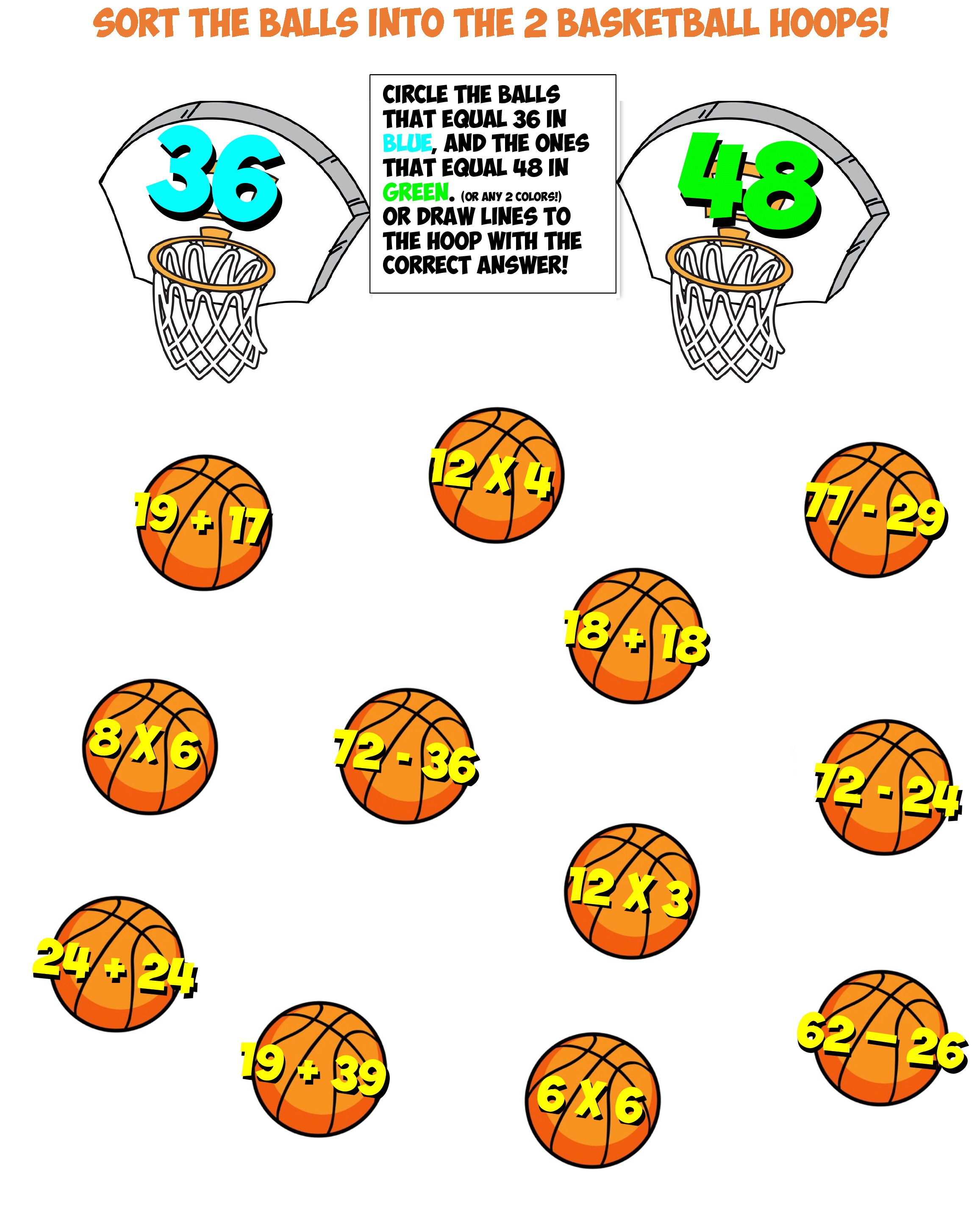 Free Math Worksheet Basketball Sort 4 In