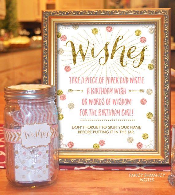 Wish Jar Birthday Wish Jar Pink And Gold Glitter Instant Etsy 16th Birthday Wishes Pink And Gold Birthday Party 16th Birthday Party