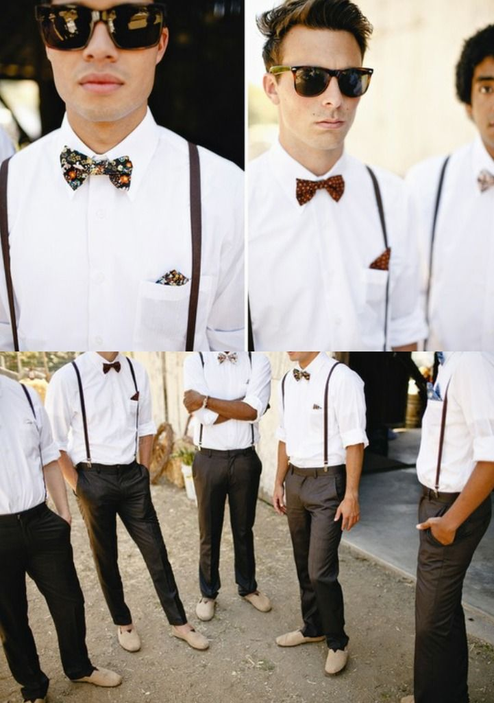 Stylish Suspenders Bow Ties For A Laid Back Beach Wedding You Can Lose The