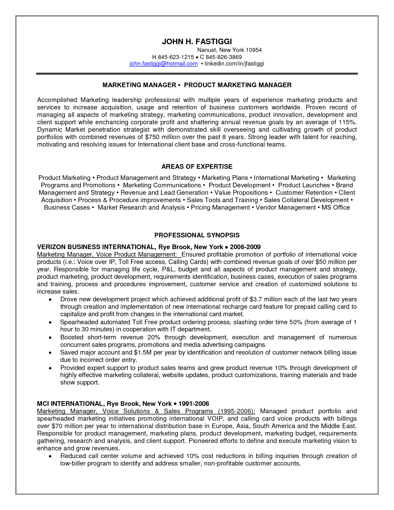 product marketing manager resume sample writting a cover letter