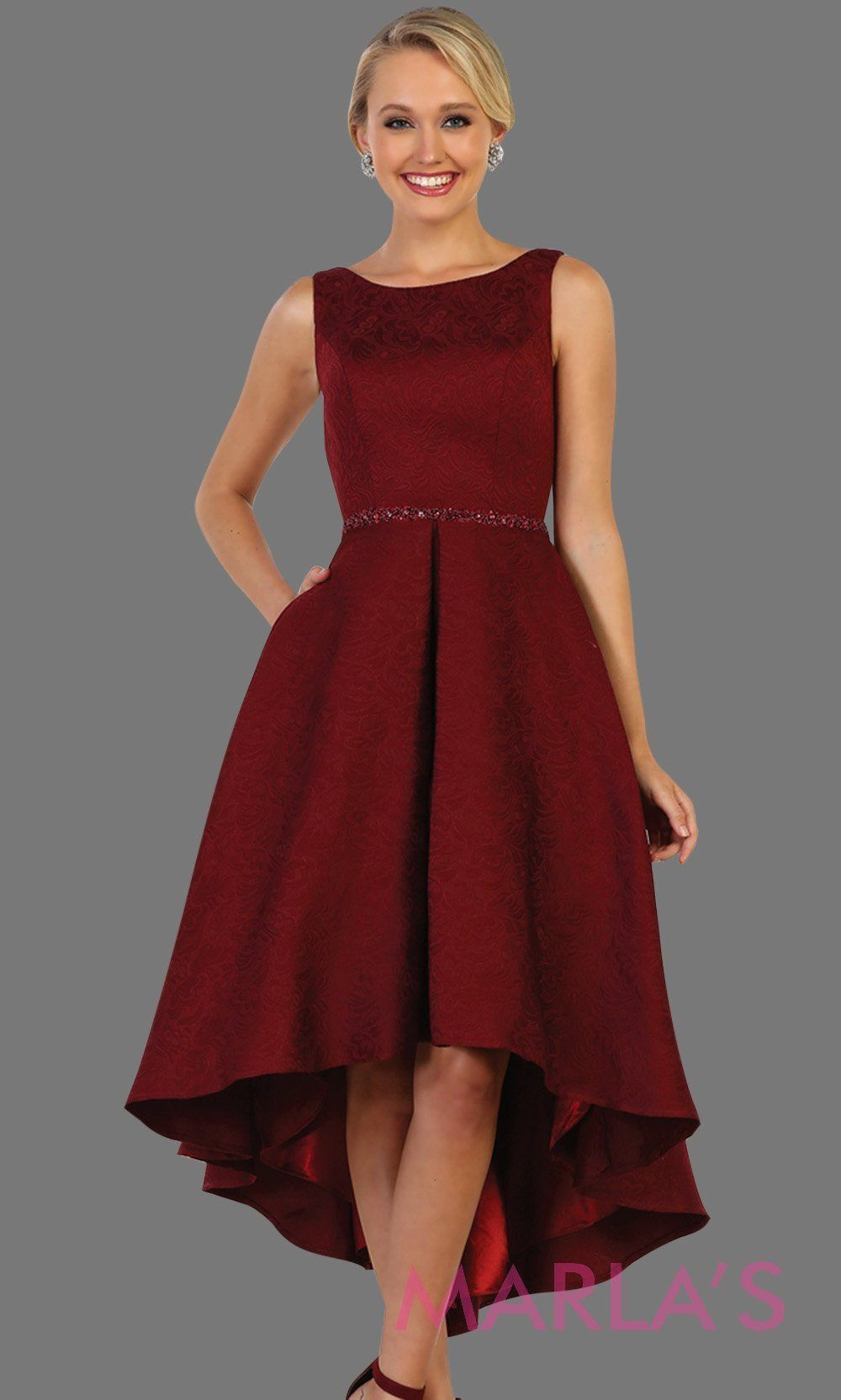 33691b748a0e 7474-High low burgundy dress with gold belt. This is a beautiful halter  grade 8 grad dress, high lo dark red prom dr… | HOTTEST INDEPENDANT WOMEN  STYLE in ...