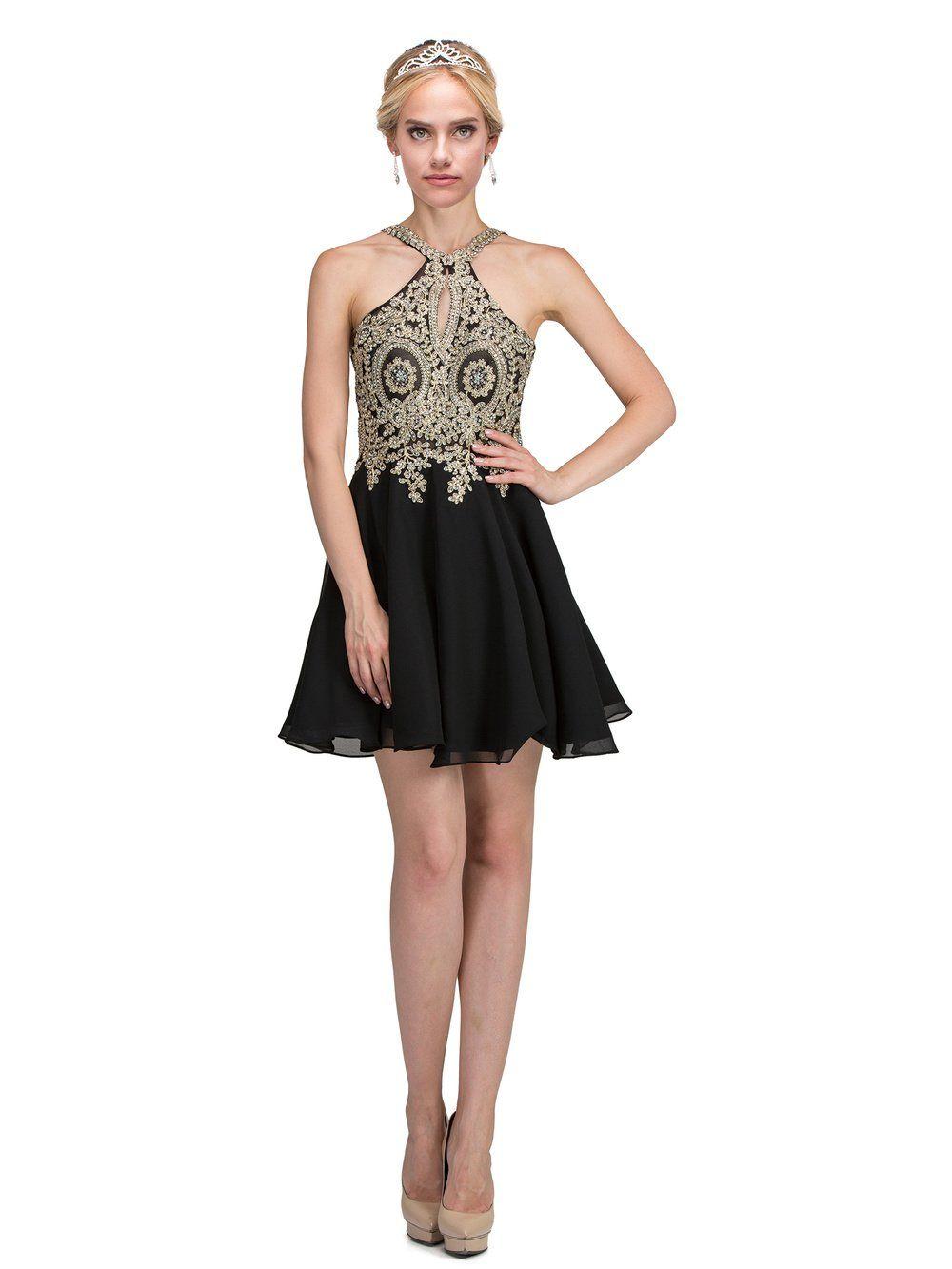 MQ 1646 - High Neck Embellished Bodice Short Chiffon Skirt
