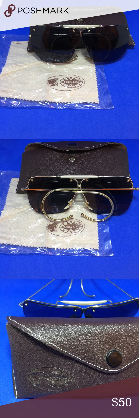 fcd55cf65e1c Vintage Tasco Aviator Sunglasses 1982 Tasco Shooting Glasses 1165S Smoke ( gray) CR30 Lens