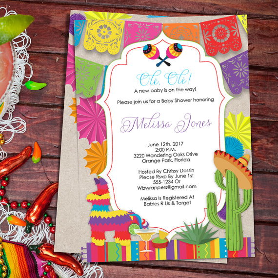 Baby Shower Fiesta Mexican Themed Invitation Template Colorful Pdf Diy