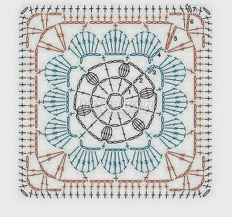 Крючком схемы цветы в квадрате