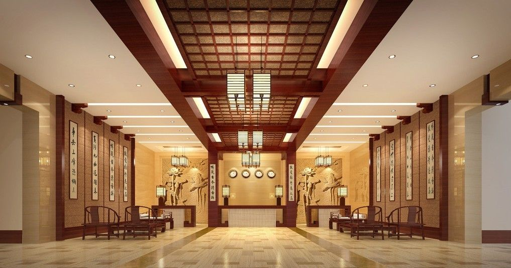 Chinese style hotel lobby interior design rendering pictures | 3d ...