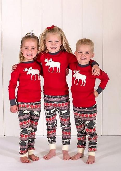 Toddler Boys Girls Kids Christmas Xmas Pajamas Deer Pyjamas Pjs Lounge Nightwear