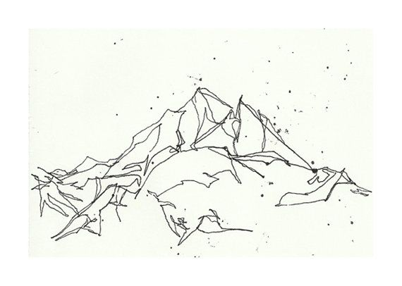 Line Art Etsy : Mountain line drawing print by cleverfigstudios on