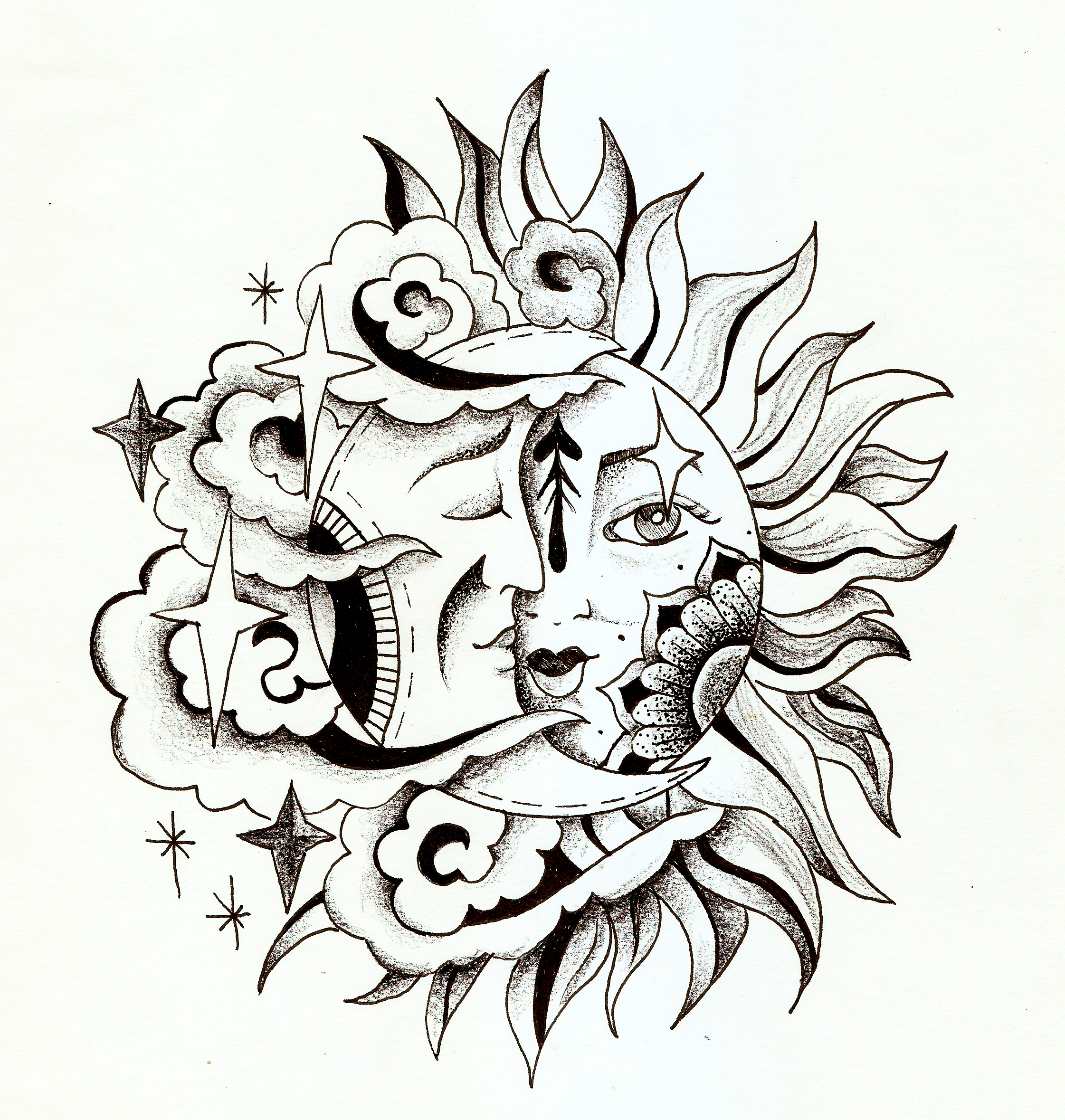 Tattoo Design Moon Sun Tattoo Ink Sketch Moon Tattoo Moon Tattoo Designs Body Art Tattoos