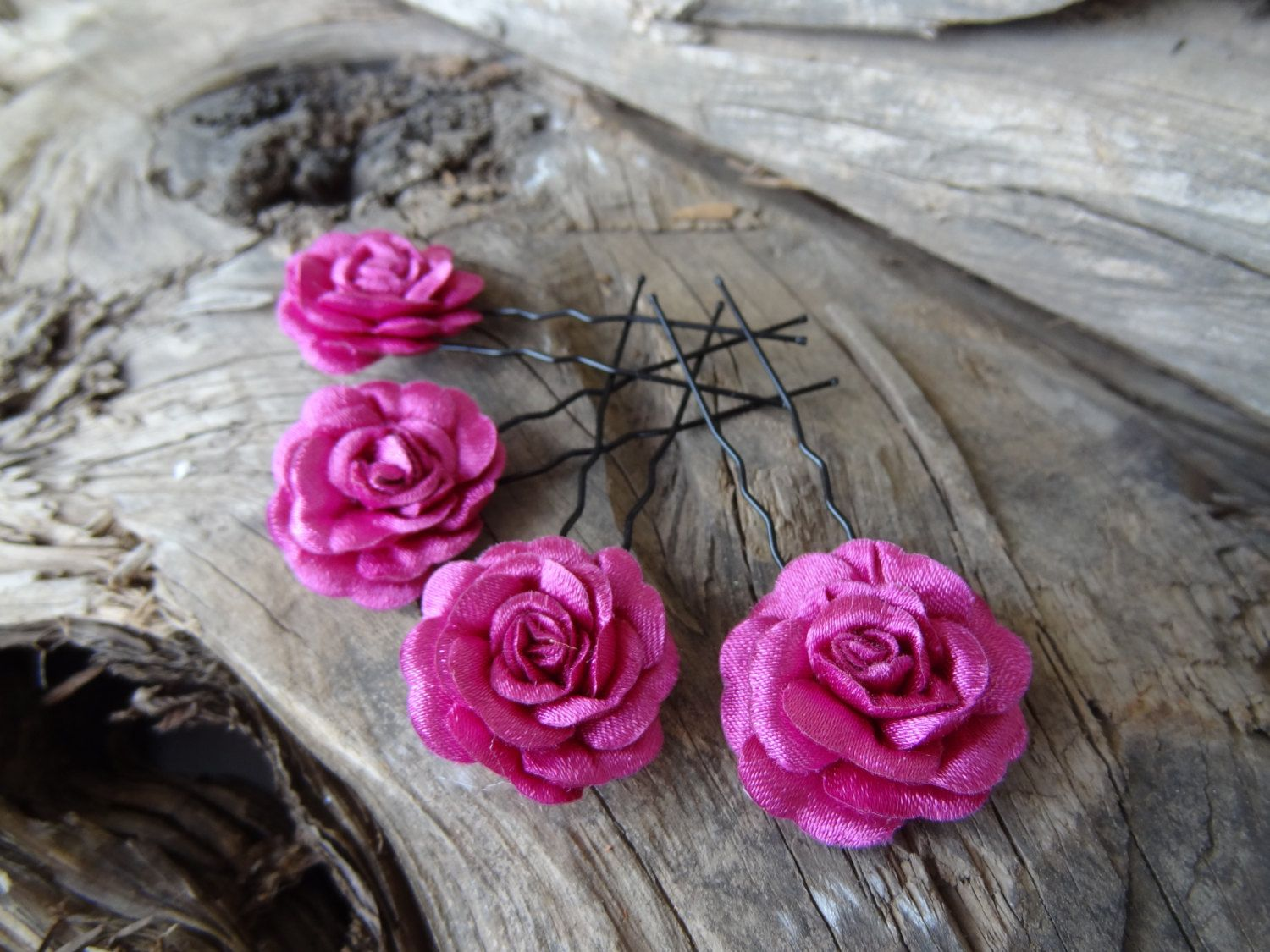 Plum Purple Satin Rose Wedding Hair Pins, Purple Bridal Hair Pins, Hair Accessories, Satin Hair Pins, Bridesmaid Hair, Woodland - Set of 4 by sevinchjewelry on Etsy