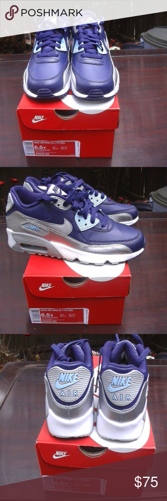 397b62ef NIKE AIR MAX 90 RARE BINARY BLUE SILVER SHOES Brand new pair of Nike Air Max