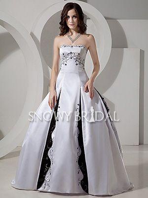 black and white princess long satin strapless corset